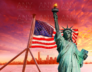 Liberty Statue New York skyline American flag
