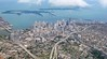 Miami city Downtown aerial view  blue sea