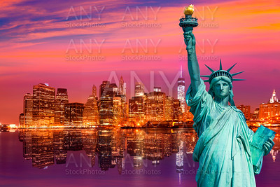 Liberty Statue and New York skyline US