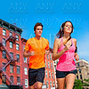 Couple running in New York city photo mount