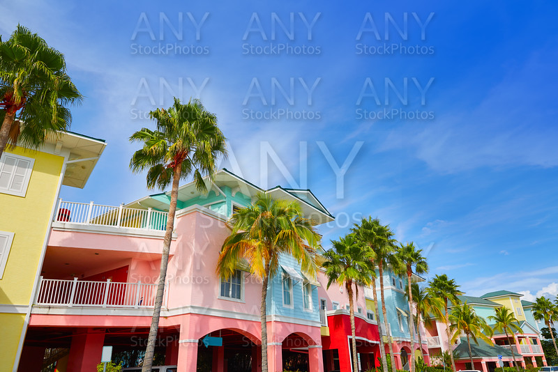 Florida Fort Myers colorful palm trees facades