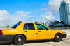 Miami beach yellow cab taxi in a bridge Florida