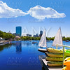 Boston sailboats Charles River at The Esplanade
