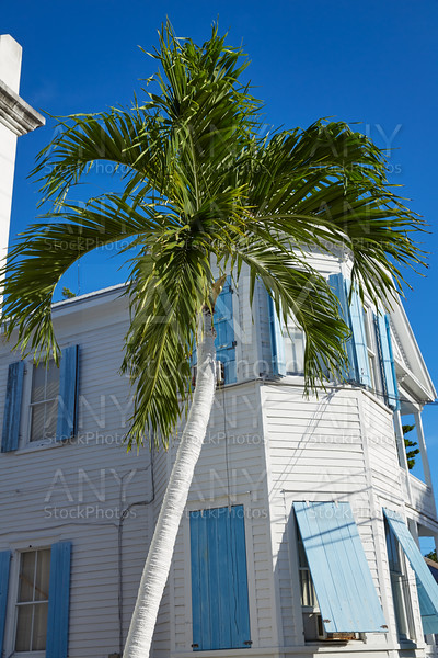 Key west downtown street houses in Florida