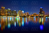 Orlando skyline sunset at lake Eola Florida US