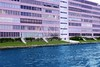 Florida Pompano Beach pink building in waterway