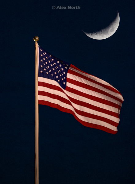Flag and Moon