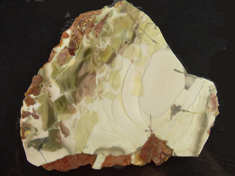 SOLD Willow Creek Jasper, Boise, Idaho<br /> The darker areas in the jasper above seem to be fragments of jasper that formed and was broken up, only to become welded again in the pale orbed material.