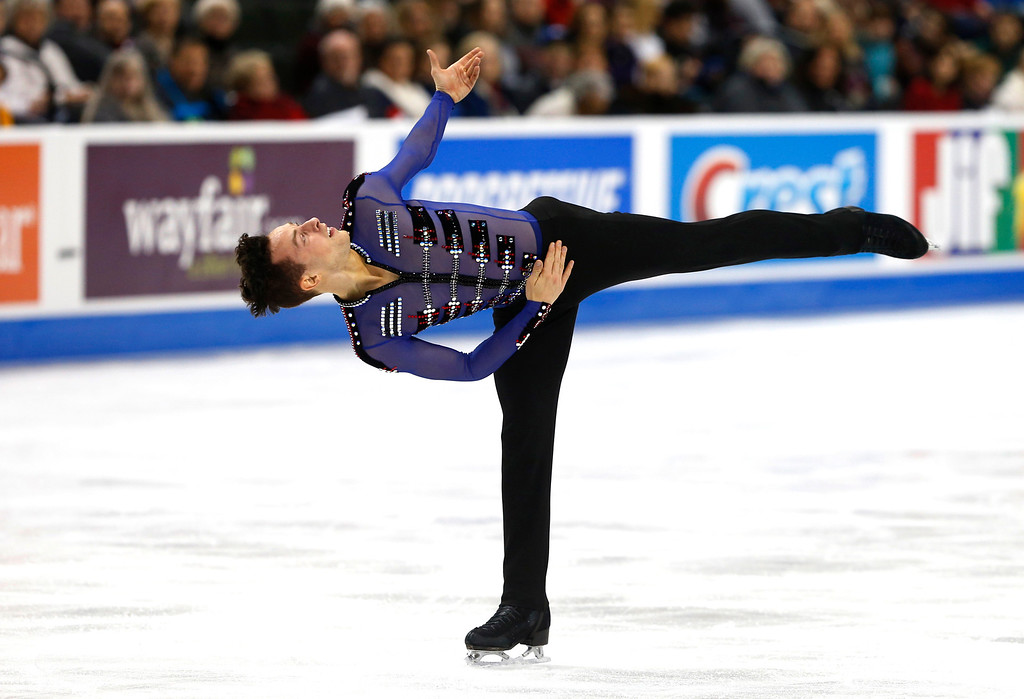 . Adam Rippon competes in the men\'s free skate program of the U.S. Figure Skating Championships, Sunday, Jan. 24, 2016, in St. Paul, Minn. He won the gold in the men\'s championship. (AP Photo/Jim Mone)