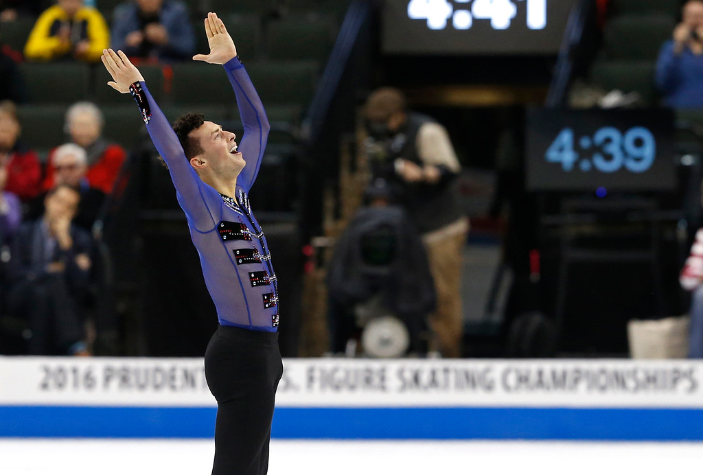 . Adam Rippon acknowledges the crowd after the men\'s free skate program of the U.S. Figure Skating Championships, Sunday, Jan. 24, 2016, in St. Paul, Minn.  (AP Photo/Jim Mone)