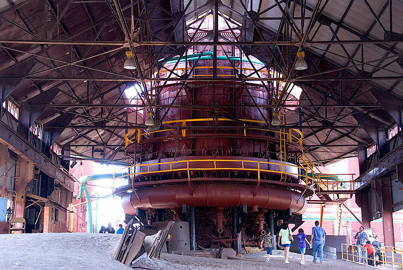"Inside the ""shed"" at Blast Furnace #1, at the Sloss Furnaces National Historic Landmark"