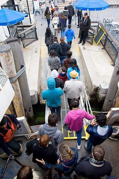 Disembarking the ferry on Manhattan