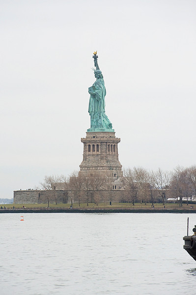 The view of the Statue of Liberty immigrants would have seen disembarking their ship at Ellis Island