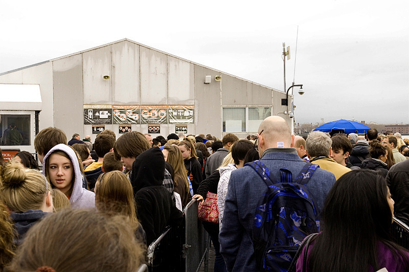 In the snaking line waiting to enter security shack prior to boarding the ferry for Liberty and Ellis Islands