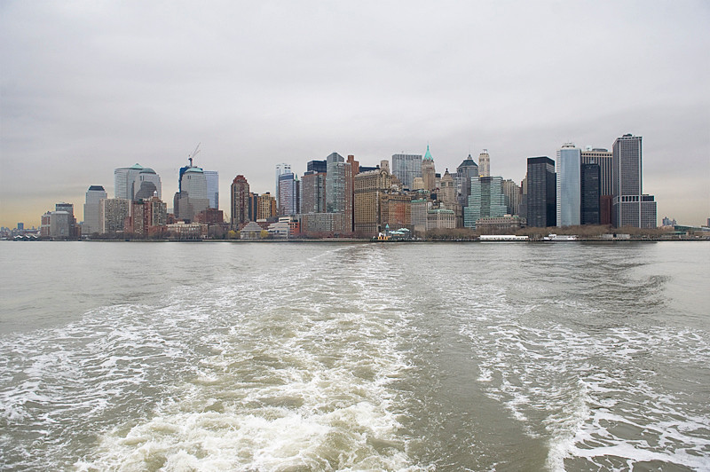 On the ferry to Liberty and Ellis Islands, leaving lower Manhattan behind