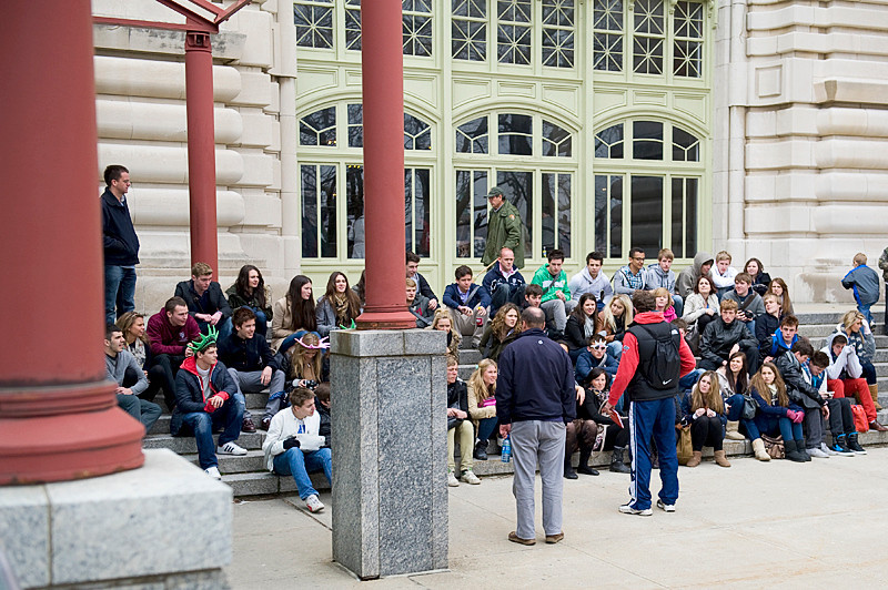 On the steps of the Great Hall on Ellis Island