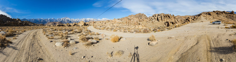 Panorama. Alabama Hills. Eastern Sierras. Inyo County, CA, USA