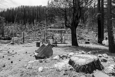 Donnell Fire Burn Scar. Historic Dardanelle Gas Station. Near SR-108. Dardanelle, CA. Stanislaus National Forest, CA, USA