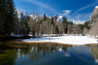 Merced River & Cathedral Rocks. Swinging Bridge. Yosemite National Park, CA, USA