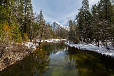 Merced River & Half Dome. Sentinel Bridge. Yosemite National Park, CA, USA