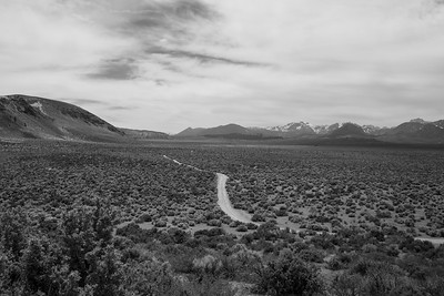 Crater Mountain (left) & Eastern Sierras (right). Panum Crater. Mono-Inyo Craters. Inyo National Forest, CA, USA