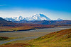 Stunning September Fall foliage with Mt. Denali and surrounding mountains