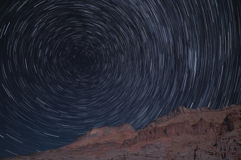 Star Trails near Fisher Towers, Utah