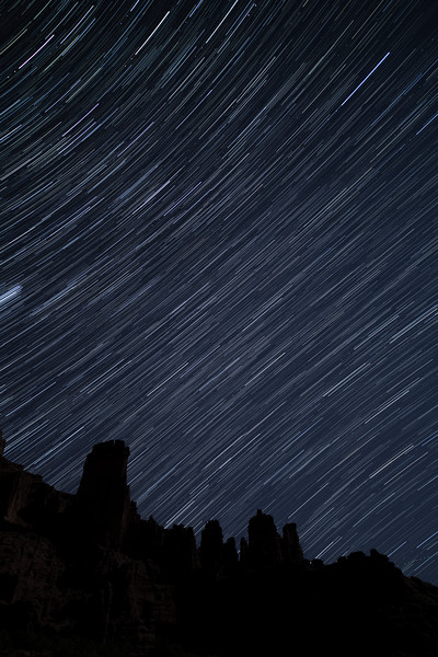 Star Trails over Fisher Towers, Utah