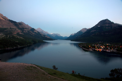 Upper Waterton Lake at Dusk