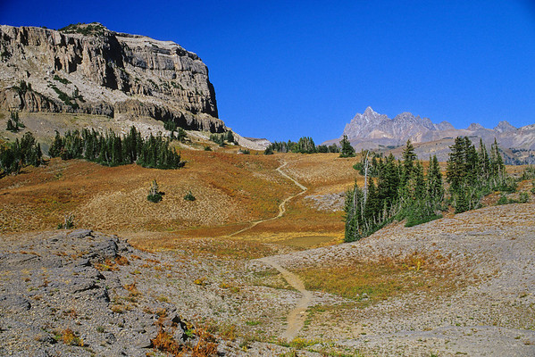 Fox Creek Pass and Death Canyon Shelf with Grand Teton in the background