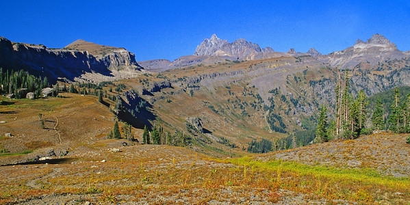 Death Canyon Shelf with Grand Teton (center) and Buck Mountain (right)