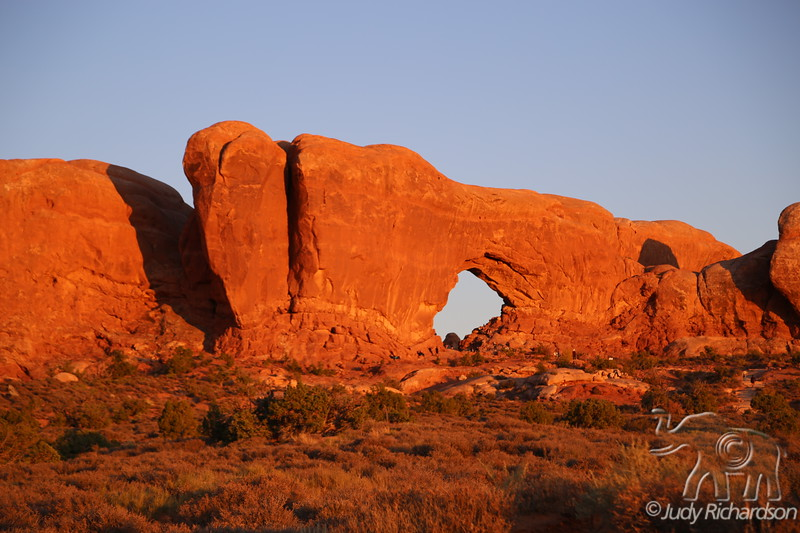 Sunset Glow on North Window in Arches NP, Utah