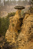 Rock formation on Devils Tower National Monument hiking trail Wyoming