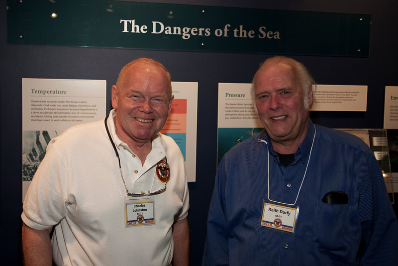 """Charlie """"Buzz"""" Johnston and Keith Durfy at the Keyport Underwater Warfare Museum."""
