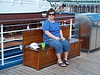 Joan sitting on the 10th deck of the Carnival Freedom. Don Rowan photos.