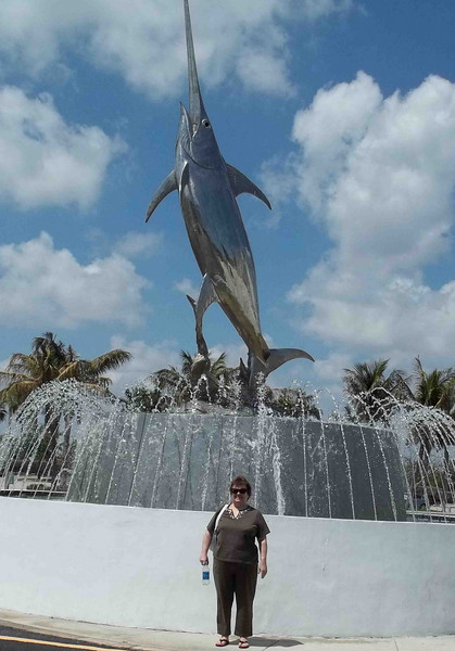 Joan Rowan in front of The International Game Fish Association the day before departure. Don Rowan photos.