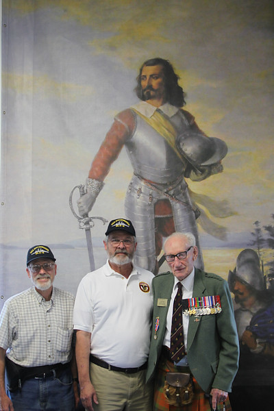 USS Macdonough shipmates Bill Grossberndt and Gary Beanland with Okill Stuart, Artilleryman 3rd Canadian Infantry Division, D-Day Landing. Honorary Colonel, 78th Fraser Highlanders Regiment, Montreal, Quebec and the Dominion President, United Empire Loyalist Association of Canada (approximately 95 years old)