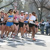 1.8 Mile: Lead runners include favorites Elva Dryer (#2), Kastor, Mary Akor (white long-sleeve shirt, in front)