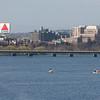 5k: Runners cross the Charles River on the Massachusetts Ave Bridge, heading to Cambridge (right).