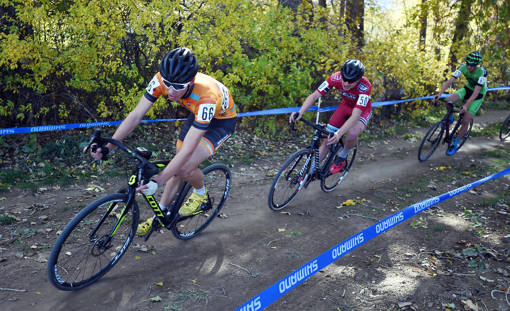 . Ross Ellwood, left leads this group around the curve. U.S. Open of Cyclocross returned to Valmont Bike Park in Boulder on Saturday. Events were provided for both top-level professional and amateur cyclists, including internationally-sanctioned events for Junior Men (17-18) and Under-23 Men.  For more photos, go to dailycamera.com. Cliff Grassmick  Staff Photographer October 14, 2017