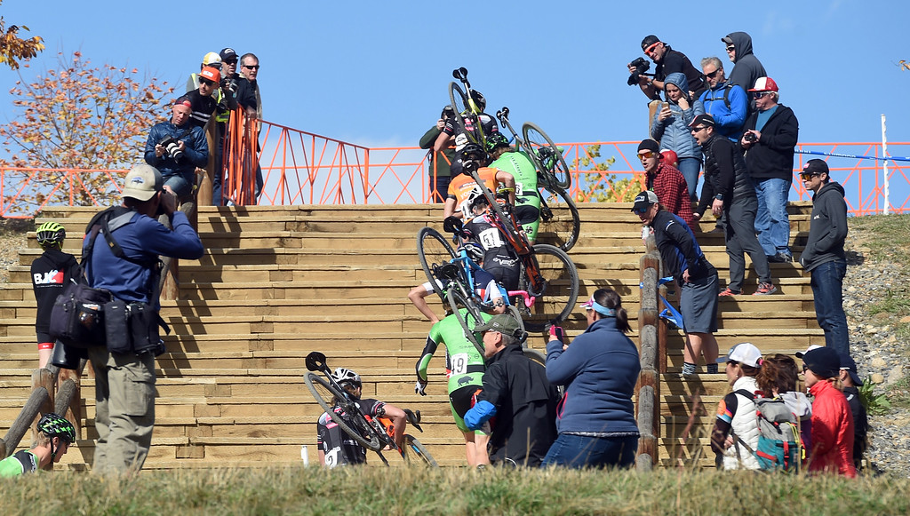 . Racers in the U23 Men head up the stairs during their race on Saturday. U.S. Open of Cyclocross returned to Valmont Bike Park in Boulder on Saturday. Events were provided for both top-level professional and amateur cyclists, including internationally-sanctioned events for Junior Men (17-18) and Under-23 Men.  For more photos, go to dailycamera.com. Cliff Grassmick  Staff Photographer October 14, 2017