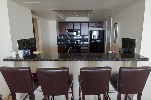 Kitchen of the oceanview Queen Suite at the Atlantic Hotel & Spa, Fort Lauderdale, Florida