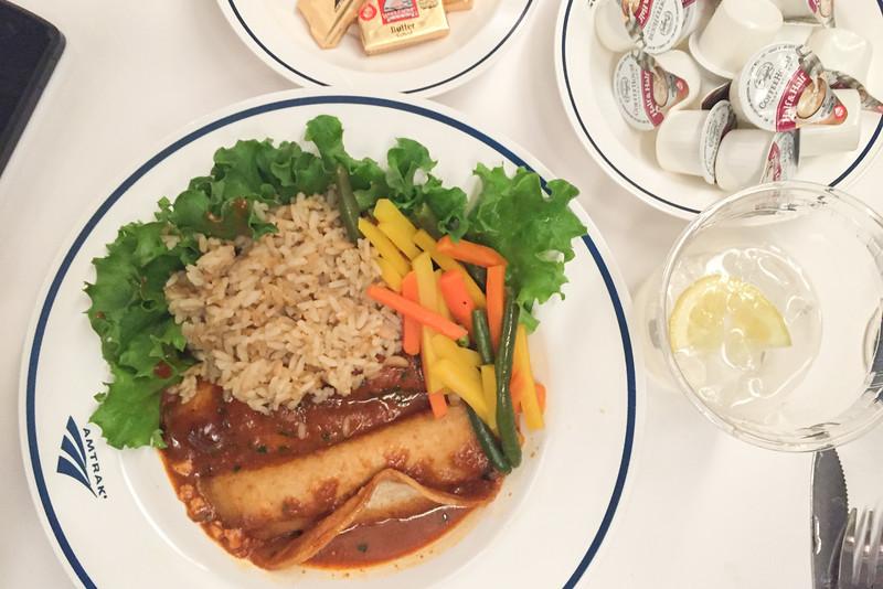 Vegetarian echiladas for dinner in the Amtrak Coast Starlight Dining Car