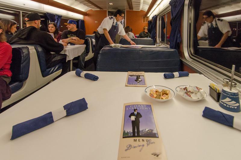 Dinner in the Amtrak Coast Starlight Dining Car