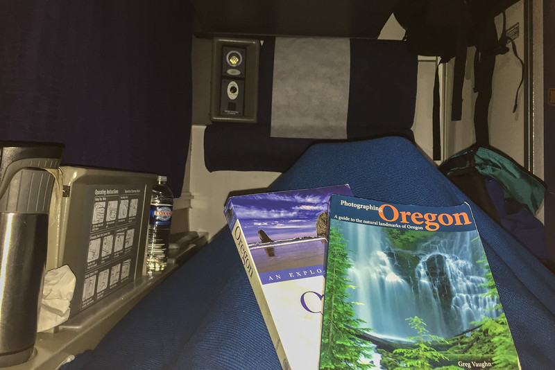 Settling in for bed in our Amtrak Roomette sleeper cabin
