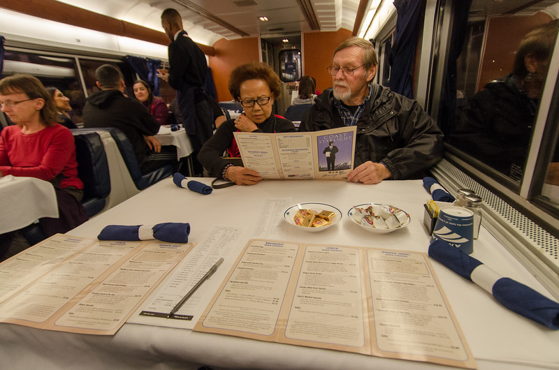 Communal seating over dinner: Riding the Amtrak Coast Starlight