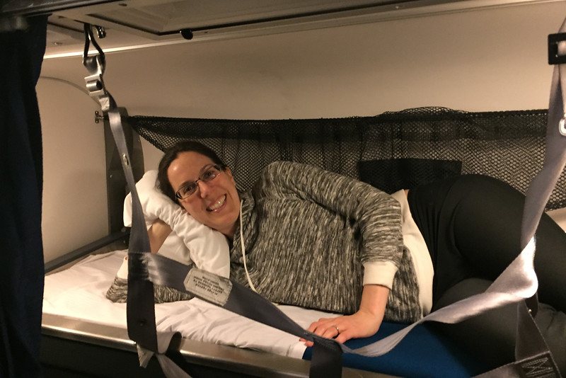 The top bunk in the Amtrak Roomette Sleeper Cabin