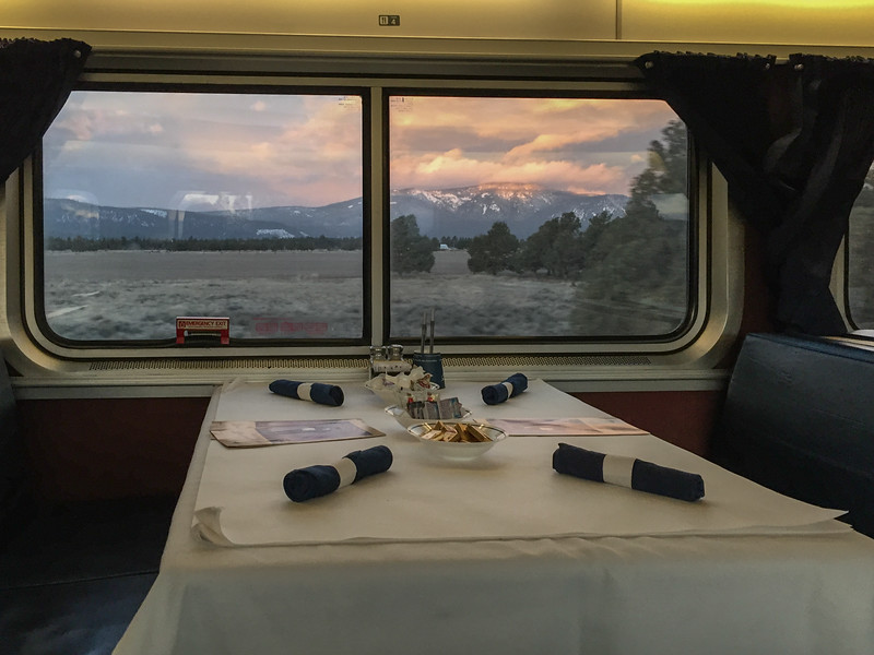 Breakfast in the Amtrak Coast Starlight sleeper car.