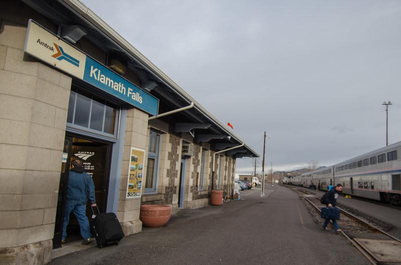 Arriving at the Klamath Falls Oregon Amtrak Station