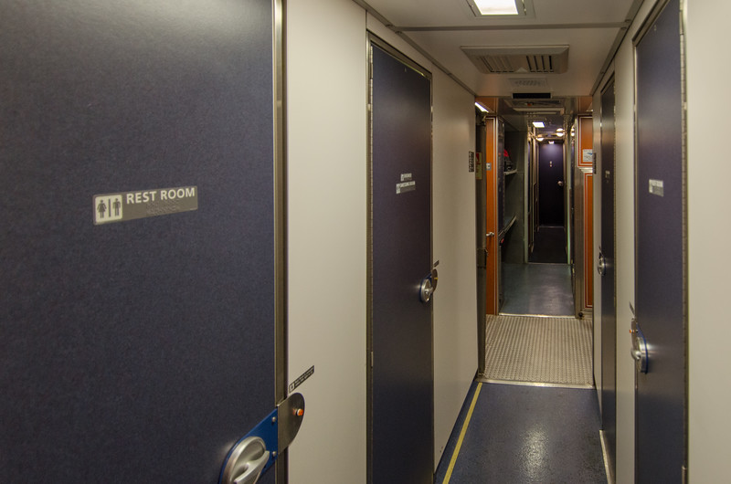 Restrooms and showers on the Amtrak Superliner sleeper car